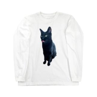 うちの猫:名前はボス、呼び方はけっけ タオルハンカチ Long sleeve T-shirts