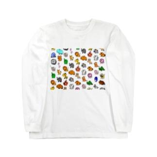動物モノグラム Long sleeve T-shirts