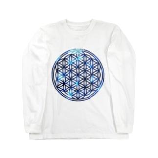 ブルーサファイア フラワーオブライフ Long sleeve T-shirts