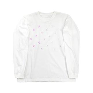 ハムけつ ドット・ピンク~水色ver. Long sleeve T-shirts