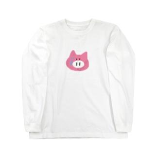 録画をミスって焦る豚ちゃん Long sleeve T-shirts