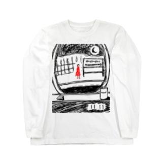 列車の窓に佇む少女 Long sleeve T-shirts