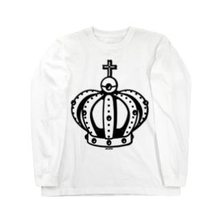 Cɐkeccooの王様気分?王冠-ブラック Long sleeve T-shirts