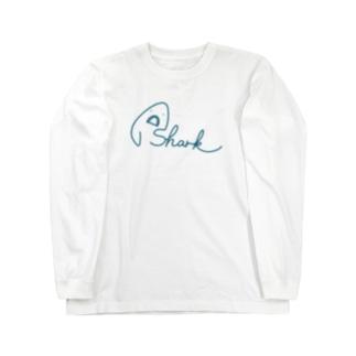サメ文字/shark Long sleeve T-shirts
