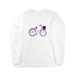 自転車デザイン「ママチャリ」 Long sleeve T-shirts