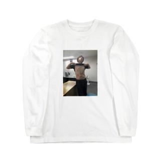 バキバキの腹筋。 Long sleeve T-shirts