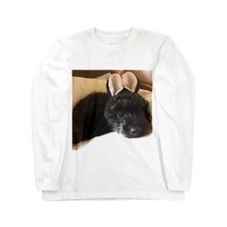 ウサ耳黒ワンコ Long sleeve T-shirts