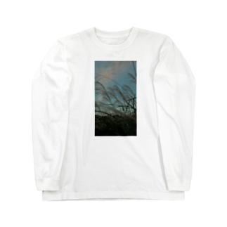 ススキ夕闇 Long sleeve T-shirts
