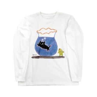 金魚と黒猫 Long sleeve T-shirts