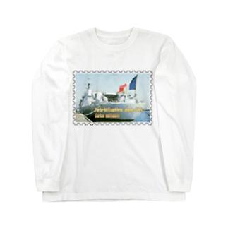 フランス海軍:ヘリ空母ジャンヌ・ダルク★白地の製品だけご利用ください!! French Navy: Jeanne d'Arc (porte-hélicoptères)★Recommend for white base products only !! Long sleeve T-shirts