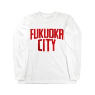 福岡シティTシャツ(レッドロゴ) Long sleeve T-shirts