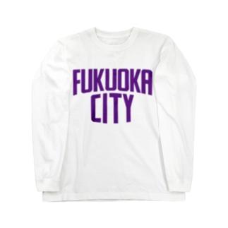 福岡シティTシャツ(パープルロゴ) Long sleeve T-shirts