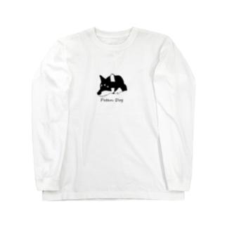ペタンする黒の柴犬 Long sleeve T-shirts
