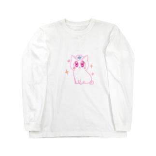 ピンクの花猫ちゃん Long sleeve T-shirts