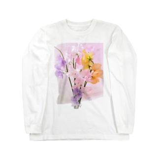 パステルカラー  スイートピーの花 Long sleeve T-shirts