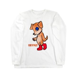 オレンジ色のいぬ Long sleeve T-shirts
