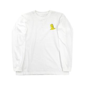 ドット恐竜 1匹 黄色 イエロー Long sleeve T-shirts