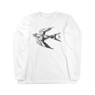つばめ モノクロ Long sleeve T-shirts