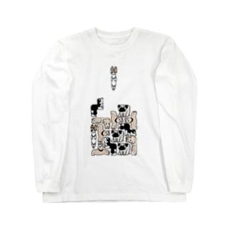 犬ブロック Long sleeve T-shirts