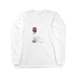 葉巻と手 グッズ Long sleeve T-shirts