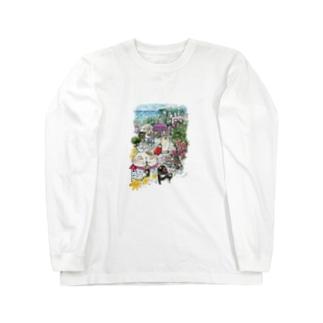 猫とペンギンと旅気分 Long sleeve T-shirts