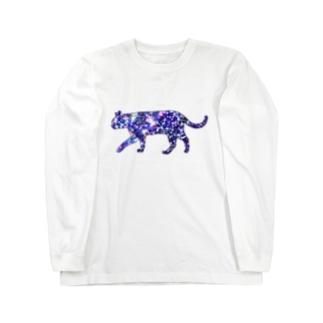 猫シルエット(ギャラクシー柄①) Long sleeve T-shirts