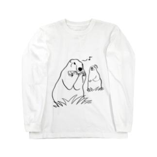 餌を食べてると思いきやハーモニカを吹くマーモットに驚くマーモット Long sleeve T-shirts