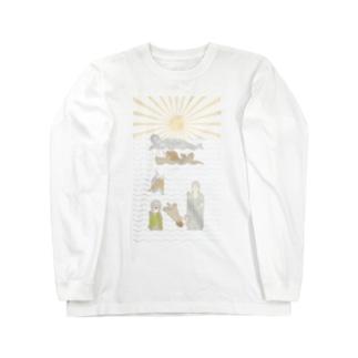ラッコ+仏像 Long sleeve T-shirts