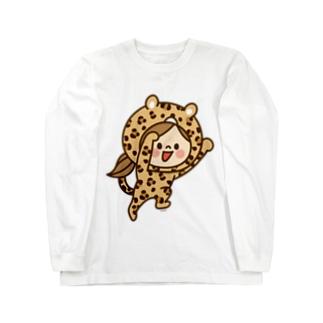 かわいい主婦の1日レオパード(ブラウン)  Long sleeve T-shirts