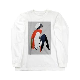 マフラーの女 Long sleeve T-shirts