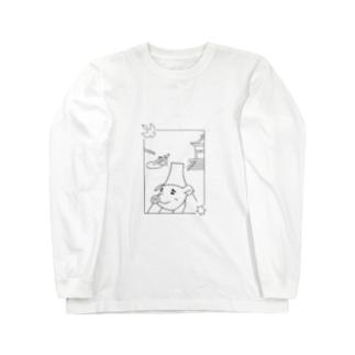 ぶっきゅ~さんと、ししおどしと、ぶっきゅ~寺。 Long sleeve T-shirts