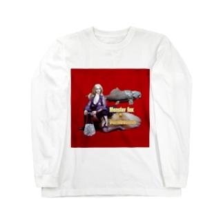 ドール写真:ブロンドの妖狐と甲冑魚 Doll picture: Blonde monsterfox & Dunkleosteus Long sleeve T-shirts