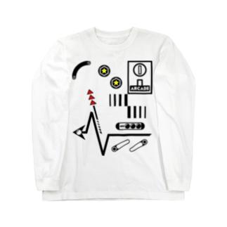 [ARCADE]PINBALL White Long sleeve T-shirts