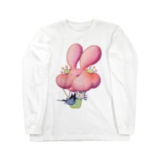 黒猫RORO&白猫RARA うさぎ気球に乗って Long sleeve T-shirts