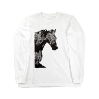 馬がすてきな(白黒ハッキリ) Long sleeve T-shirts