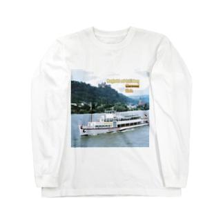 ドイツ:シェーンブルク城とライン川 Germany: Burghotel auf Schönburg / Oberwesel / Rhein Long sleeve T-shirts