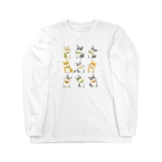 招きコーギー Long sleeve T-shirts