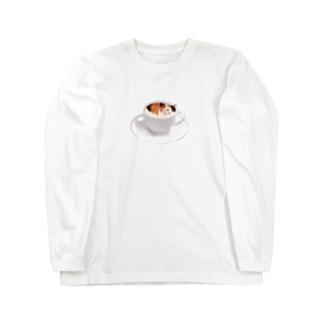 ちいさなイラストver.猫カフェラテ☕️おいしそうな いろをした ねこ. Long sleeve T-shirts