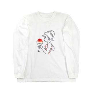 すもものかき氷 Long sleeve T-shirts