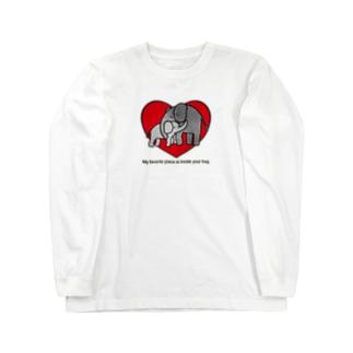 ゾウさんの親子 Long sleeve T-shirts