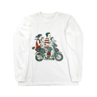 akaneyabushitaの【バリの人々】バイク家族乗り Long sleeve T-shirts