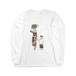 【バリの人々】お母さんと子供 Long sleeve T-shirts