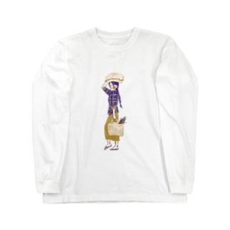 akaneyabushitaの【ミャンマーの人々】マーケットの女性 Long sleeve T-shirts