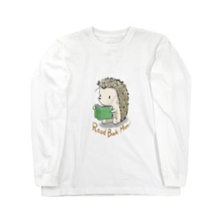 本読みハリネズミ Long sleeve T-shirts