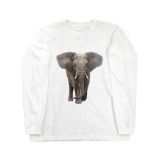 アフリカゾウ Long sleeve T-shirts