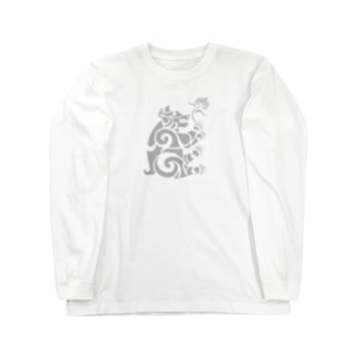 中南米風のクマ Long sleeve T-shirts