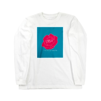 I live through daily life (バラ) Long sleeve T-shirts