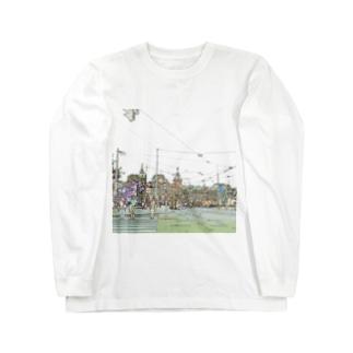 CG絵画:アムステルダム中央駅 CG art: Amsterdam Centraal station Long sleeve T-shirts