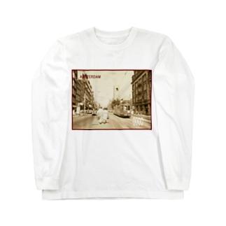 オランダ:アムステルダムの風景写真*切手風 Netherlands: Amsterdam alike postage stamp Long sleeve T-shirts