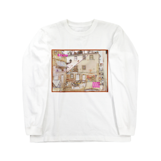 FUCHSGOLDのCG絵画:アルファマの風景 CG art: Alfama / Lisboa (Lisbon) Long sleeve T-shirts